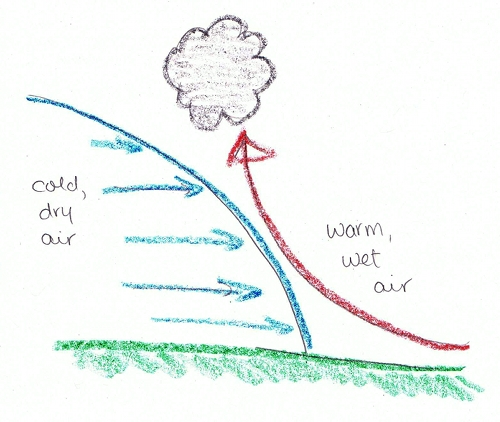 Lifting mechanism.  Cold air is denser than warm air, so when warm and cold air meet, the warm air is lifted upwards.  The moisture in the warm air condenses into a cloud.