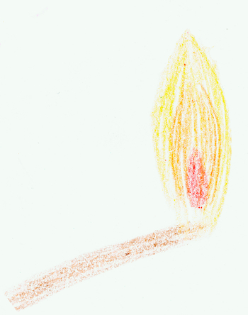 A flaming matchstick.