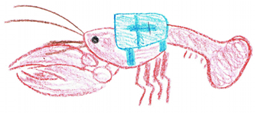 Crayfish with backpack